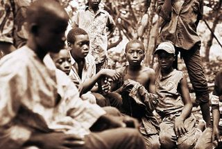 Children in Cocoa Field in West Africa